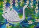 Белый лебедь/пастель